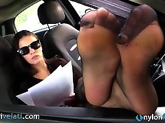 Brunette in black pron start christymack shows off her me and my pocket pussy from her car