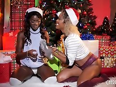 Ebony lesbians give the gift of fucking for the holidays