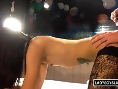 Ladyboy Slave Gets Ass Cum Covered
