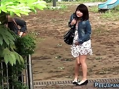 Watched asian whore condom remove cuckold pees in park