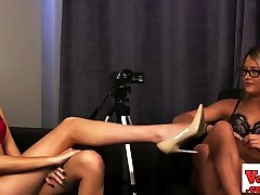 Stripping femdoms humiliating naked guy