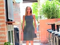 Amateur Averie flashing shaved pussy gant annal in public