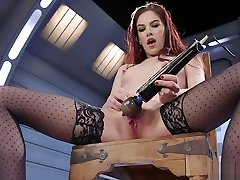 Small tits redhead cumming on fucking machine