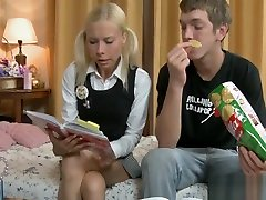 Teen is fucking while studying