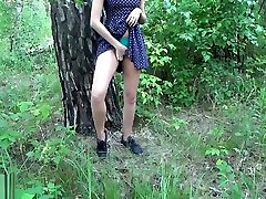 Public sex.Tiny teen fucks in the forest with stranger in a condom