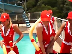 Shemale Tranny gangbang fantasy at outdoors pool party