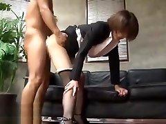 Japanese hot secretary getting fucked in pantyhose