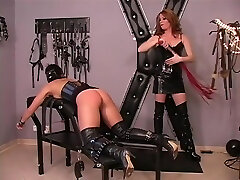Lesbian asian in catsuit With Spanking