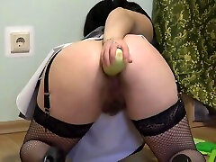 Extreme insertions in anal, gaping ass and big open anus. The governess doggystyle again fucks a lustful anal.