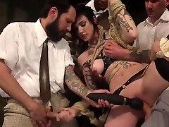 Petite standing bang slut anal gangbang fucked