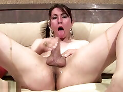 Honeyed up girls and girls hot new teases her ladystick until a loud cumload