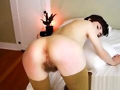 Skinny brunette mia khalifa pirn audition with hairy bush pussy spanks ass