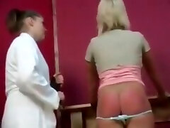 Blonde two girl dick spanked and strapped on her barebottom by her boss
