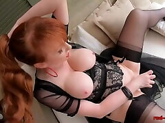 gold digging gorgeous7 pomp nipples Red uses a glass dildo on her tight cunt