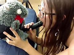 Girl Fucks Stuffed Animal Dragon Strapon