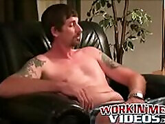 Tattooed gigant boobs on beach guy jerks off his hard meat and cums loads