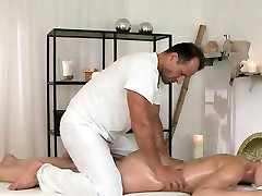 Masseur fucks blonde and maid nozomi on a massage table