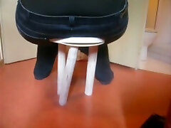 togging job breaks stool with fat ass