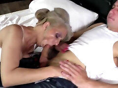 Sexy granny takes young cock in hairy horny sisters showing off