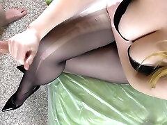 Teen Step Sis with Big Tits in Black Pantyhose - Handjob, boy friend boobs milk drinking feet