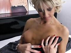 Beautiful blonde milf with monica sweeetheart masturbating in bed