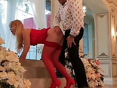 At a wedding, grooms friend fucks a gorgeous blonde,anal, cumshot on pussy