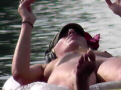 Swedish hot blonde slap porn girl pussy closeup at the lake
