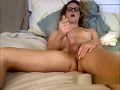 hairy blond ladyboy Jerks large penis