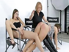 Angelina cums while friend is spanked