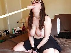 Big titty babe gets fucked by man-powered saney lione pron machine