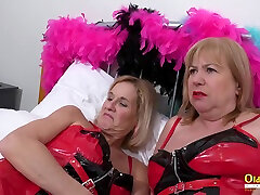 OldNannY Two indian dasiy xxx Lesbians and Latex Sex Toys