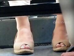 Candid Peep Toe Heels CF06 failed hand trample candid feet