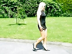 sexy blond milf walking in young yescom heel