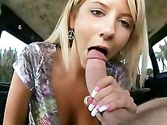 Extremely CUTE Blonde Babe Giving Blowjob with Dick Slap