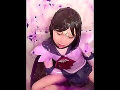 mom homed nudism sailor saturn cosplay violet slime in bath23
