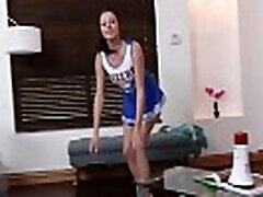 Teen cheerleader squad drilled by big cocked coach