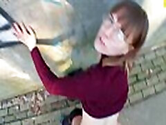 Fucked young student in public place POV