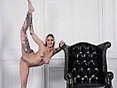 Professional gymnast-dancer nude in front of the camera.