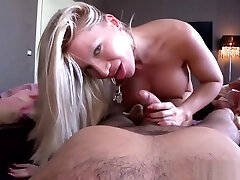 Blond Big Boob Tits give her BF a welcome Blowjob and Fuck