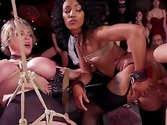 Huge tits Milf and ebony fucked at orgy