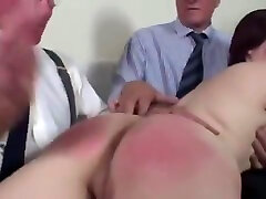 Teen spanked by 2 old men !!!