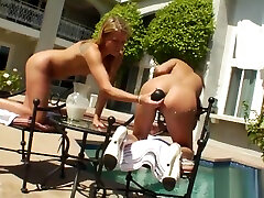 Frisky lesbos fill up their huge bootys with milk and sunny leone xxx hot fucking it out