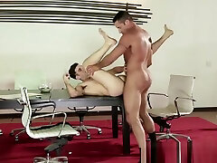 Mature gay boss ass fucks employee on the conference table