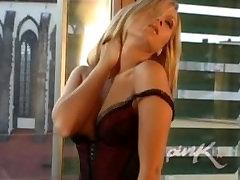 Smoking hot blonde masturbating on the sofa