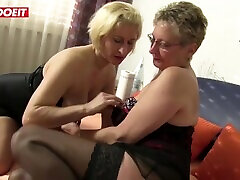 AMATEUR EURO - Two Horny German Grannies Want Foursome With Hard Studs