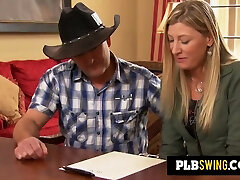 Swinger cowboy starts to share his wife