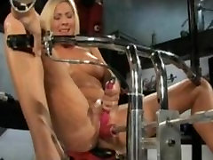 Blonde hottie never before in porn does mechanical DP and cums hard
