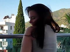 CUTE GIRL JERK OFF IN A HOTEL ON BALCONY EARLY MORNING