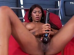 Redhead and ebony hours play machines