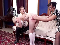 Butt plugged audrey bbw pussy licking spanked by mom